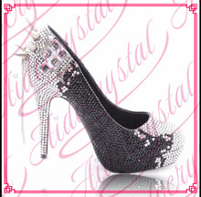 Aidocrystal black and white handmade Fashion stiletto pumps sexy women high heel shoe with crystal free shipping
