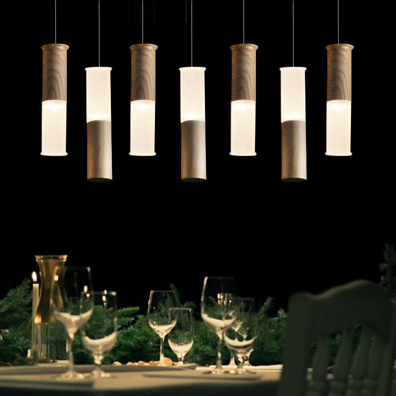 LOFT American Country Style Pendant Light Wood Acrylic Pendant Lamp Led Lighting Fixtures For Home Decoration WPL006