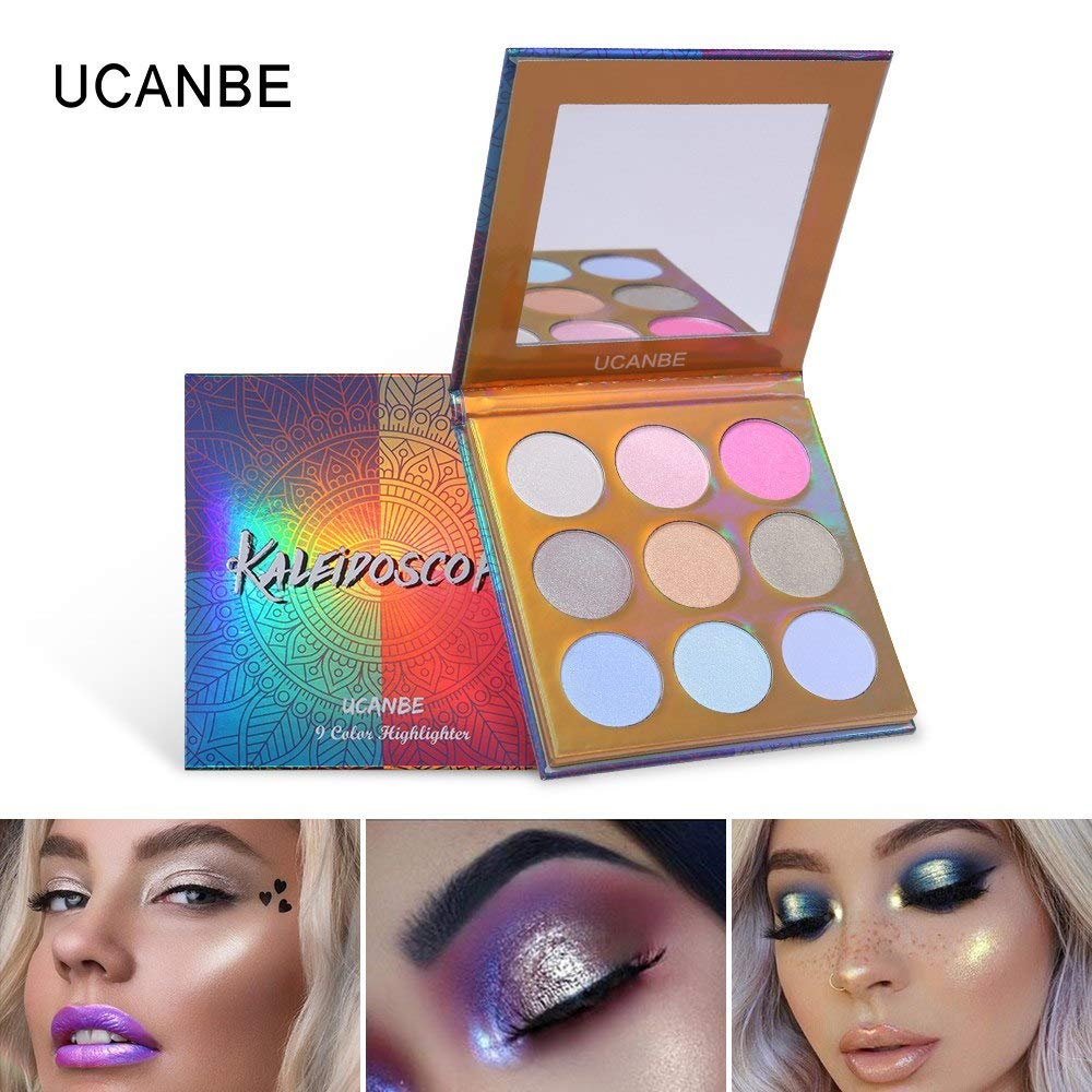 Ucanbe Makeup High-shine Glitter Highlighter Palette 9 Color Shimmer Brilliant Rainbow Highligh Powder Face Illuminador Glow Kit Invigorating Blood Circulation And Stopping Pains Beauty & Health