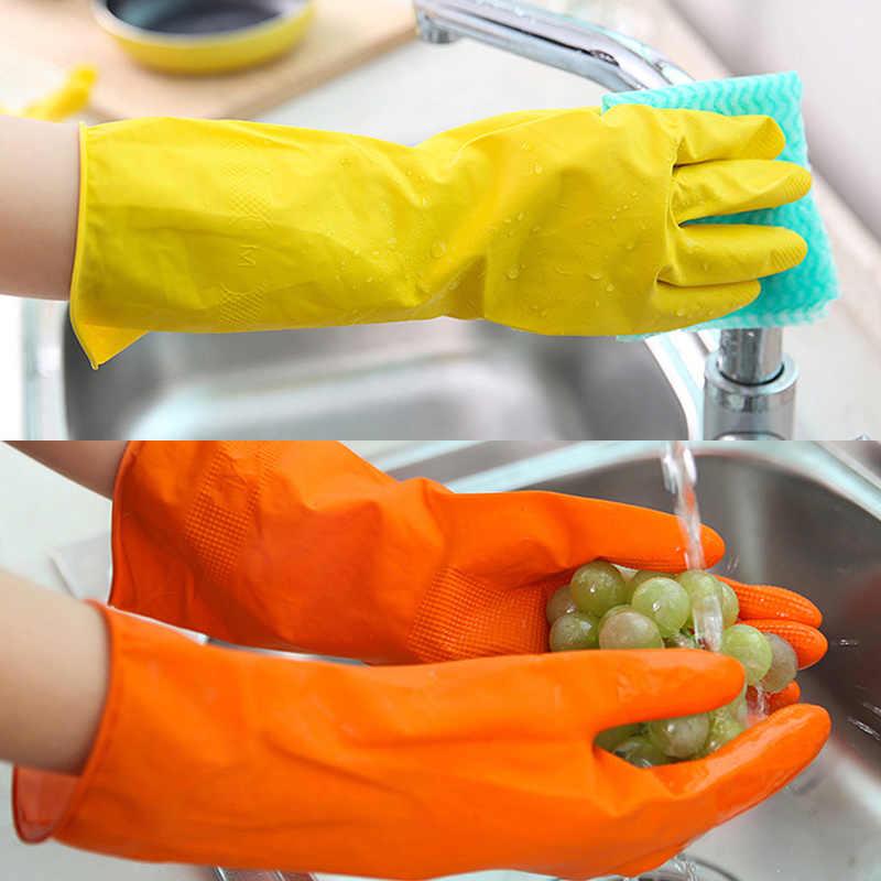 Küche Waschen Gerichte Den Haushalt Handschuhe Orange Wasser-beweis Geschirr Handschuhe Gummi Bands Gummi Handschuhe Langarm 4 art größen