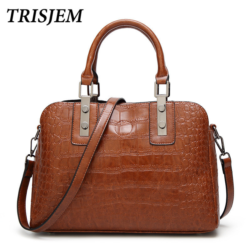 2018 Women Leather Crocodile Handbags Luxury Brand Bags Female Totes Bags Fashion Luxury Pu Leather Famous Shoulder Bag Green fashion women s handbags brand crocodile pu leather zipper lady one shoulder bag casual messenger totes bags case female purses