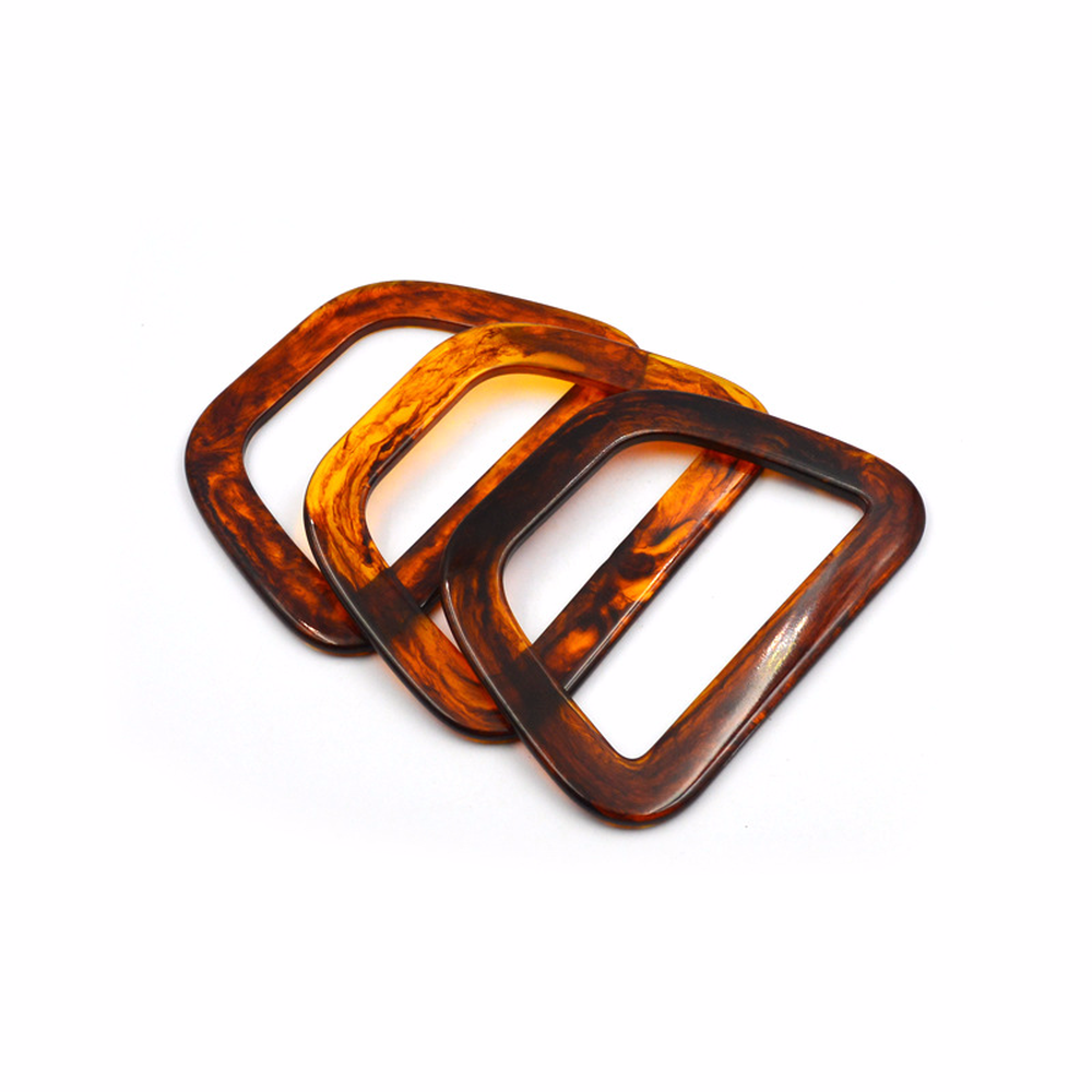 4PCS/Lot Trapezoidal Tortoise Shell Acrylic Handle For Dinner Bag Gold Hand Wrist Evening Bag Essential Accessories