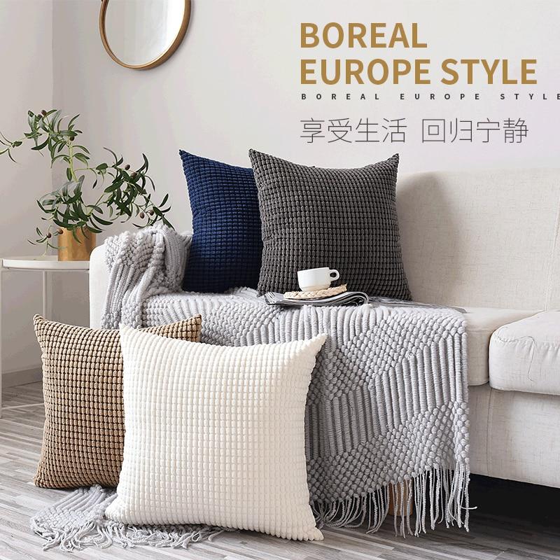 Velvet Corn Kernels Sofa Cushion Case Seat Chair Floor Throw Cushion Case Solid Pompom Modern Home Decor Living Room Pillowcase
