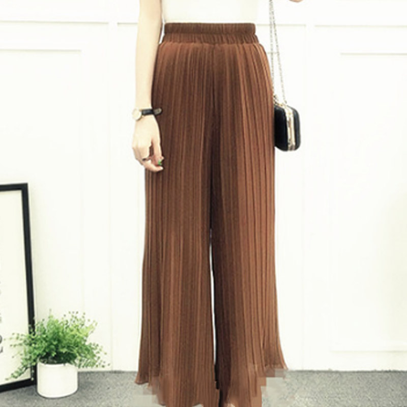 Women Chiffon Loose   Pants   High Waist Ruffled Hem Thin Pleated Trumpet Casual Trousers -MX8