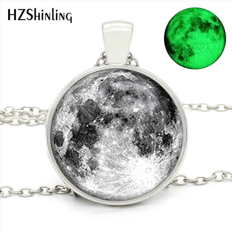 HZShinling Glowing in the Dark Full Moon Glowing Glass Round Necklace Womens Glowing Fashion Jewelry Glass Dome Collar