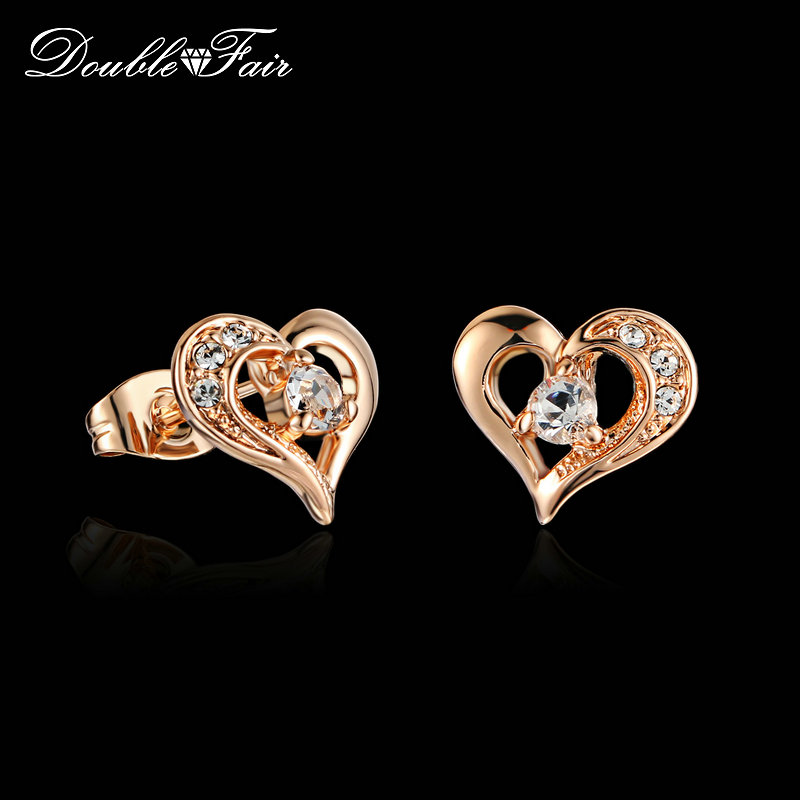 Top Quality Sweet Heart Cubic Zirconia Stud Earrings Rose Gold Color Fashion CZ Stone Party Jewelry For Women DFE770
