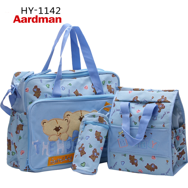 Free Shipping Cute waterproof 600D Hand,Messenger Pink,Blue,Green Bear Baby Nappy Diaper Bags for Pretty Mummy Hot-Sales HY-1142