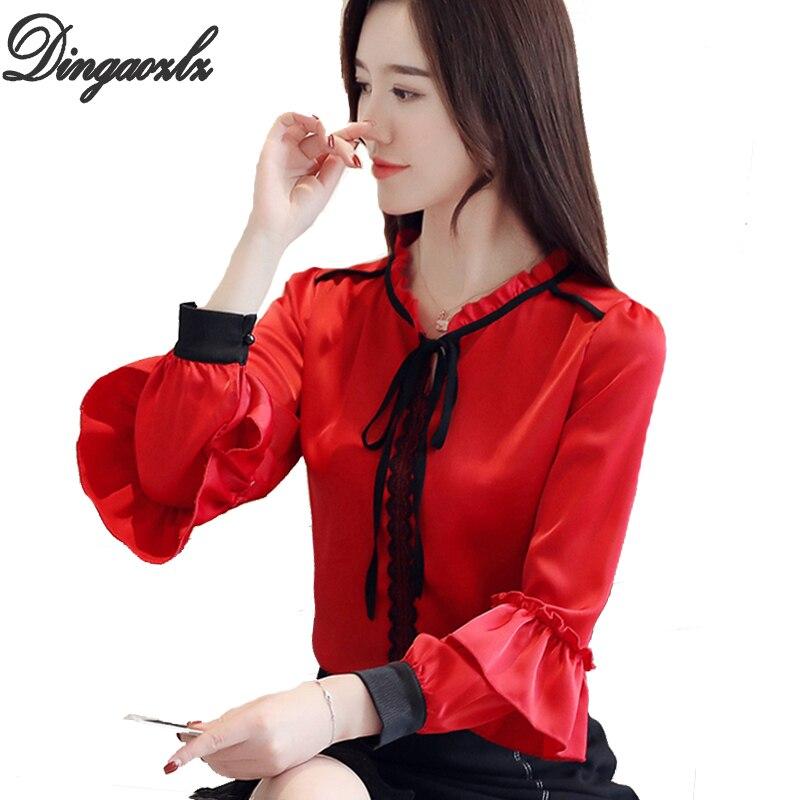 1ff97aefd5e Dingaozlz новая весенняя женская одежда фонари рукавом Шифоновая Блузка  листьев лотоса Leopard рубашка галстук-бабочка