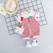 Newborn Baby Girl Clothes Set Print T-shirt & Striped Suspenders Shorts 2pcs Toddler Outfits Summer Cotton Casual Suit