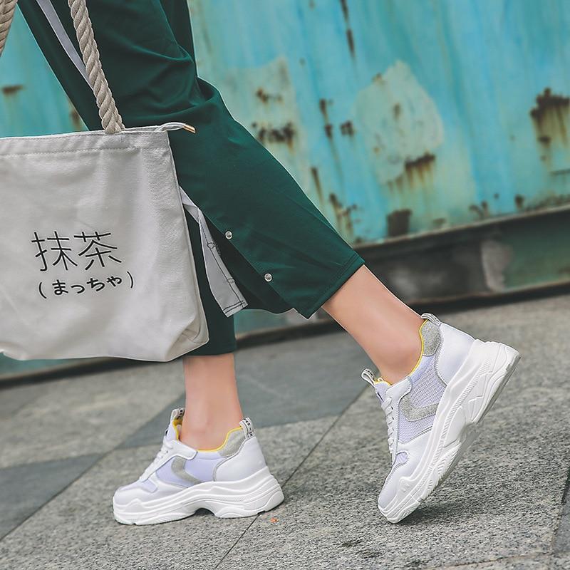 Sneakers Blanc 2018 Patchwork Chaussures Automne Respirant jaune Lady Jookrrix Femelle Chaussure Noir Mode Femmes Marque Casual yY7gvf6b