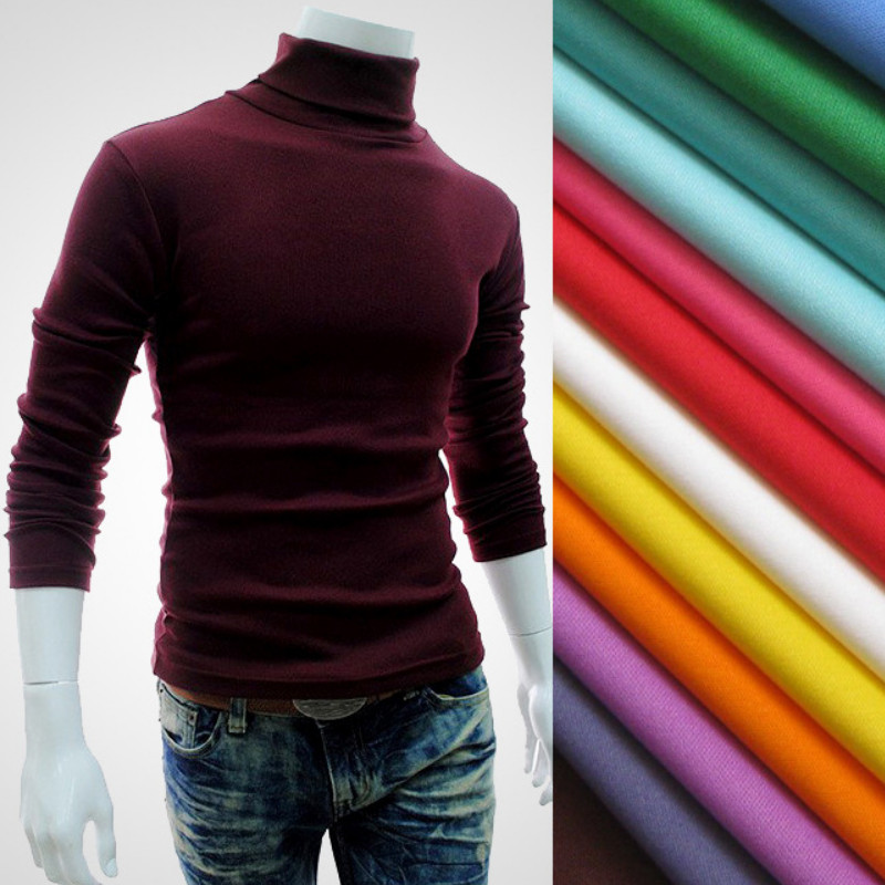 2019 New Autumn Winter Men'S Sweater Men'S Turtleneck Solid Color Casual Sweater Men's Slim Fit Brand Knitted Pullovers(China)