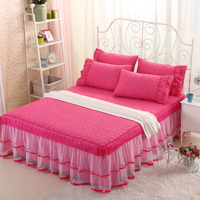 SunnyRain 3 Pieces Lacework Quited Bed Sheet Set Solid Color Bed ...