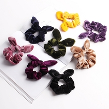 Retro Solid Color Women Rubber Band Cute Rabbit Ears Bowknot Hair Rope Ponytail Holder Scrunchies Headwear Accessories for Girls
