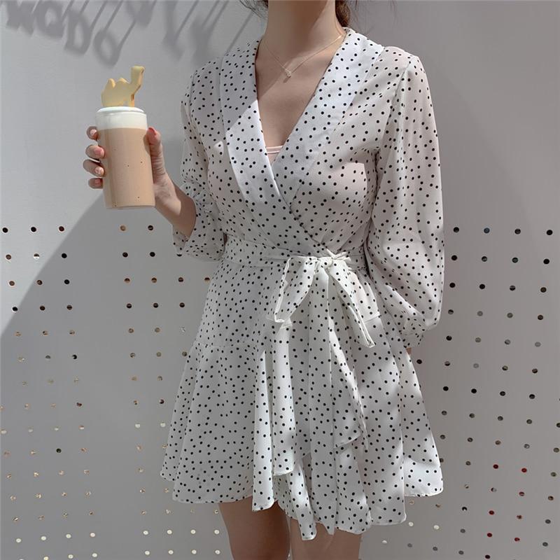e01d4b35ed66 BGTEEVER Casual manga de tres cuartos cuello en V blanco mujeres vestido  elegante Polka Dot A-line ...