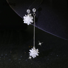 Latest New Style Fashion 925 Silver Drop Earrings Flower Crystal Earrings Jewelry Pendientes Brincos Fashion Jewelry
