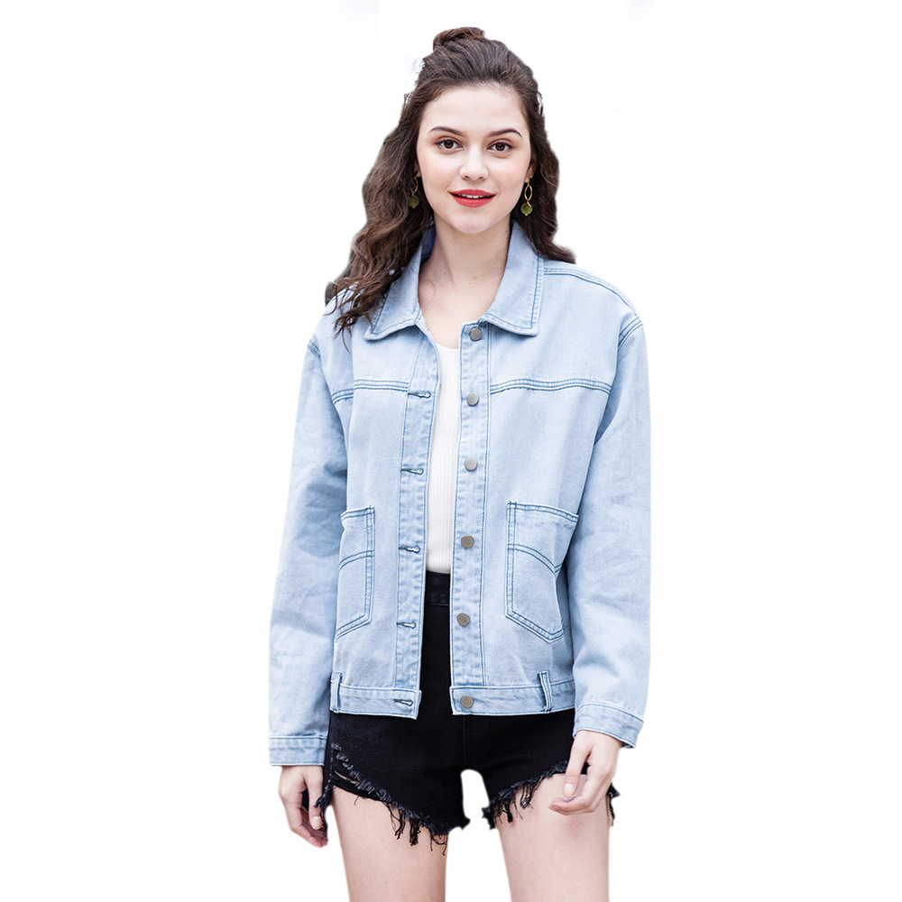 2019 spring new personality original light blue denim