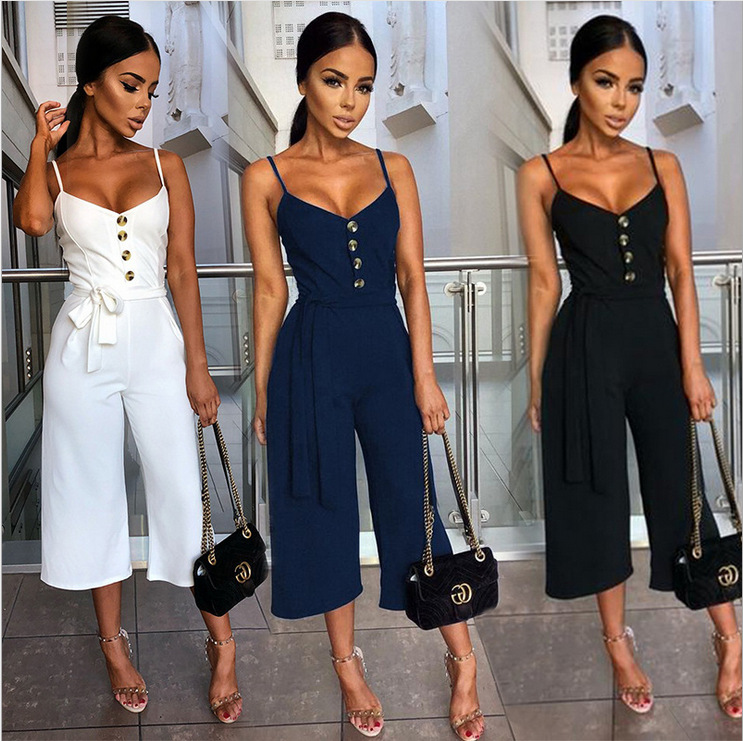 Woman Set Lady Sexy Halter Sling Jumpsuit Fashion Street wear Price $22.99
