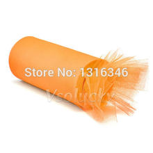 "1 Roll 6"" x 25yards Orange Tulle Spool Mesh Organza Roll Ribbon DIY Tutu Wedding Party Bow Cratf Decor 6"" x 75'(China)"