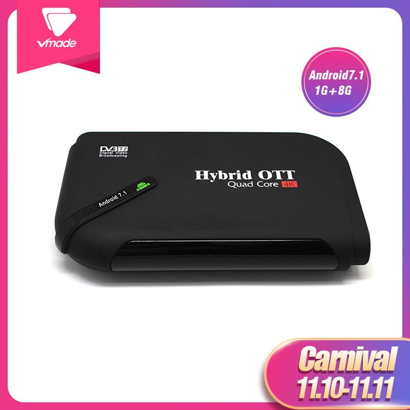 Hot Android 7.1 DVB T2 android tv box Quad Core DVB T2 HD H.265/MPEG4 dvb t2 tv tuner 4K Smart KII Set top Box Media Player