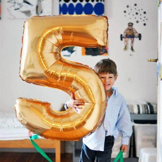 Goud Zilver Nummer Ballonnen Folie Digit Helium Ballon Verjaardagsfeestje Bruiloft Decoraties Opblaasbare Air Figuur Ballonnen