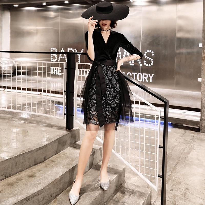 Beauty Emily Black Short   Cocktail     Dresses   2019 Sexy V Neck Sequins robe de   cocktail   Women Prom   Dress   Formal Party   Dresses