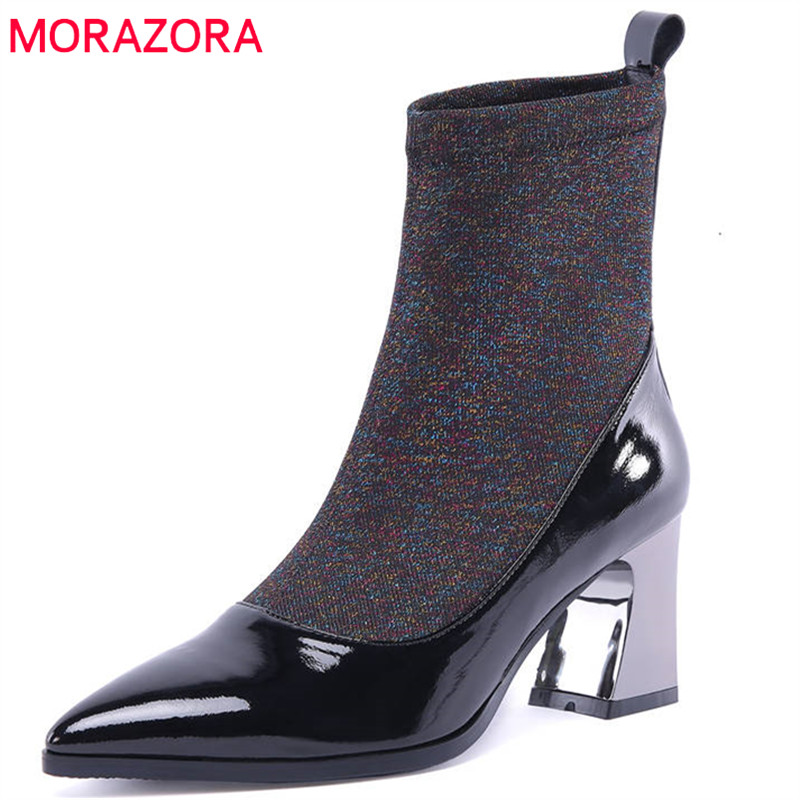 MORAZORA 2018 new fashion ankle boots for women patent leather elegant Stretch socks boots warm autumn winter shoes high heels миксер philips hr1560 40