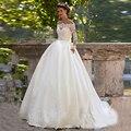 Newest Desinger Wedding Dress Long Sleeves Boat Neck vestido de novia with Sash Satin Ball Gown Bridal Gown 2016 Lace Plus Size