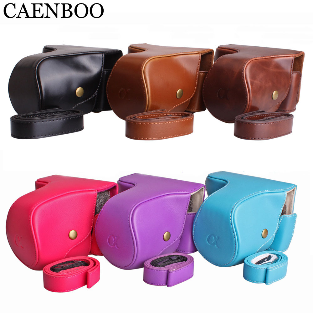 CAENBOO Leather Camera Bag Hard PU Camera Cover Case Skin+Battery Openning Bag+Strap For Sony NEX-7/NEX-F3/NEX-6/A6000 NEX 7 F3
