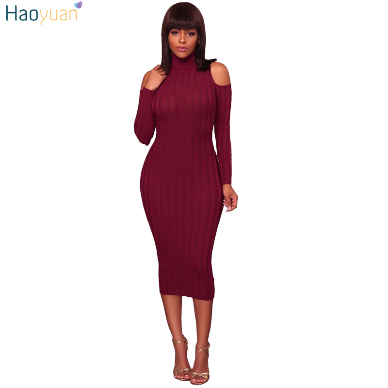 HAOYUAN Turtleneck Sweater Dress Women 2017 Autumn Winter Dress Cold Shoulder Long Sleeve Ribbed Knitted Midi Bodycon Dresses turtleneck cold shoulder jumper dress
