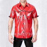 mens male's red latex shirt with short sleeve safari style