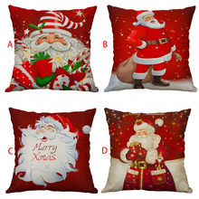 Hot Sale Cushion Cover Christmas Sofa Bed Car Home Decor Linen Pillow Case Pillowcase Casual Snowman Pillow Cover 40cmx40cm(China)