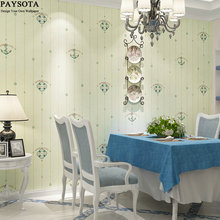 PAYSOTA Mediterranean Style Environmental Non-woven Wallpaper Vertical Stripes Children Room Bedroom Background Wall Paper