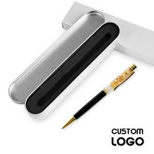 New Engraved Name Pen Gold Foil Metal Ball Point Pen Custom Logo Company Name Writing Stationery Gift Office School Pen With Box настенные фотокартины gold point tf630t