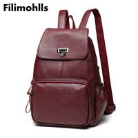 Leather Backpack Women Fashion Female Backpack String Bags Large Capacity School Girl Daily Bag Travel Bags Mochila F 449