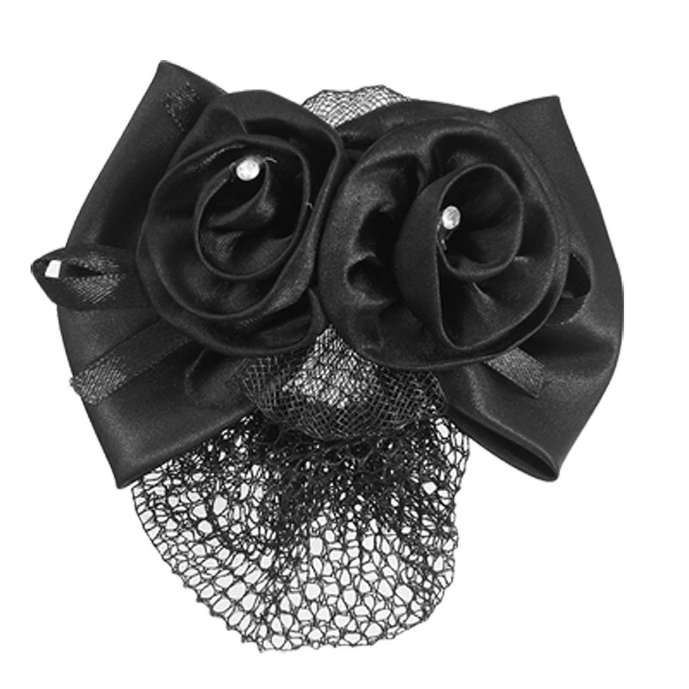 Black bow hair accessories - Fs Hot Black Polyester Bow Ribbon Metal Barrette Snood Net Bun Cover Hairclip For Women