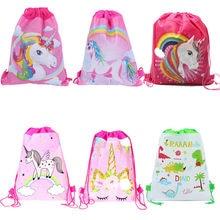 2d9e40fec66 10 unids lote niños favores dinosaurio unicornio tela no tejida mochila  bolsas de regalo decoración