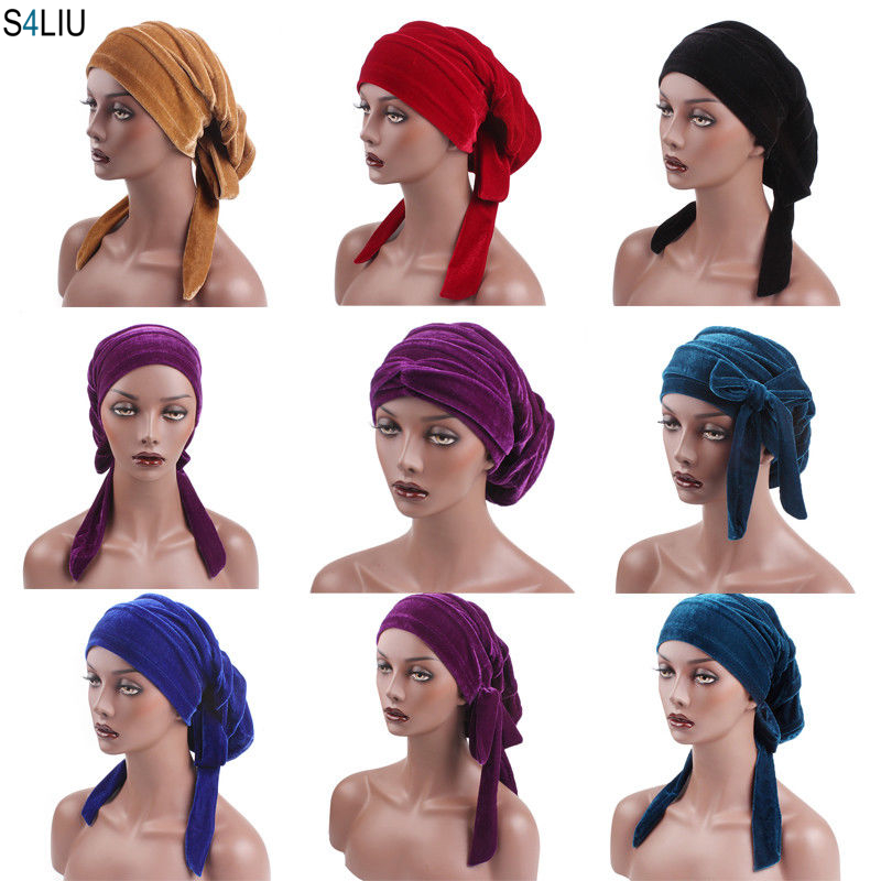 Trustful Muslim Women Velvet Headwrap Long Tail Baggy Hijab Turban Hat Arab Chemo Cap Slouch Cap Hair Loss Pile Cap Tube Hair Accessories Novelty & Special Use