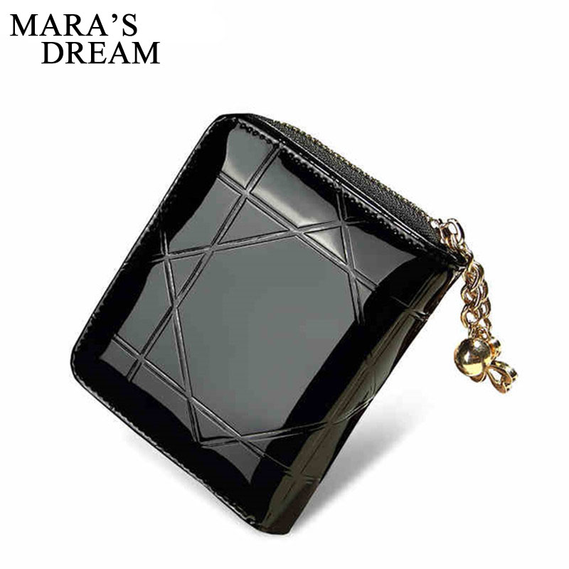 Mara's Dream Patent Leather Women Short Wallets Ladies Small Wallet Zipper Coin Purse Pocket Female Wallet Purses Money Bag simline fashion genuine leather real cowhide women lady short slim wallet wallets purse card holder zipper coin pocket ladies