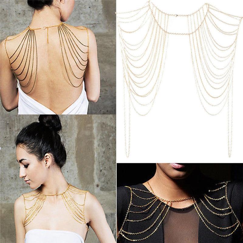 1 PC  Gold,Silver Bohemian Punk Necklaces Collar Shoulder Chain Long Necklaces & Pendants Women Statement Body Jewelry