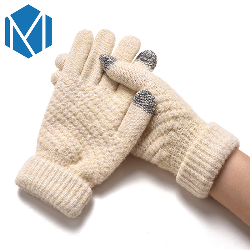 Women Winter Warm Knitted Thickened Stretchy Mittens Gloves Female Thermal Casual Covered Finger Halter Gloves Girls Accessories