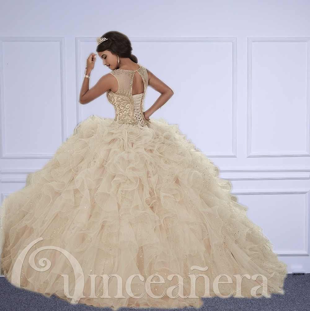 Champagne quinceanera vestidos 2017 vestidos de baile querida frisado cristal bordado doce 16 vestido de 15 anos