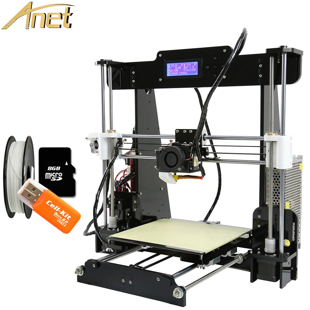Hot Sale High Quality Anet 3d printer Reprap i3 DIY 3D Printer Kit With Free 1Roll Filament 8GB SD Card LCD Video Gift anet a8 3d printer precision reprap prusa i3 5key lcd acquired diy 3d printer kit with 2rolls filament 8gb sd card and lcd free