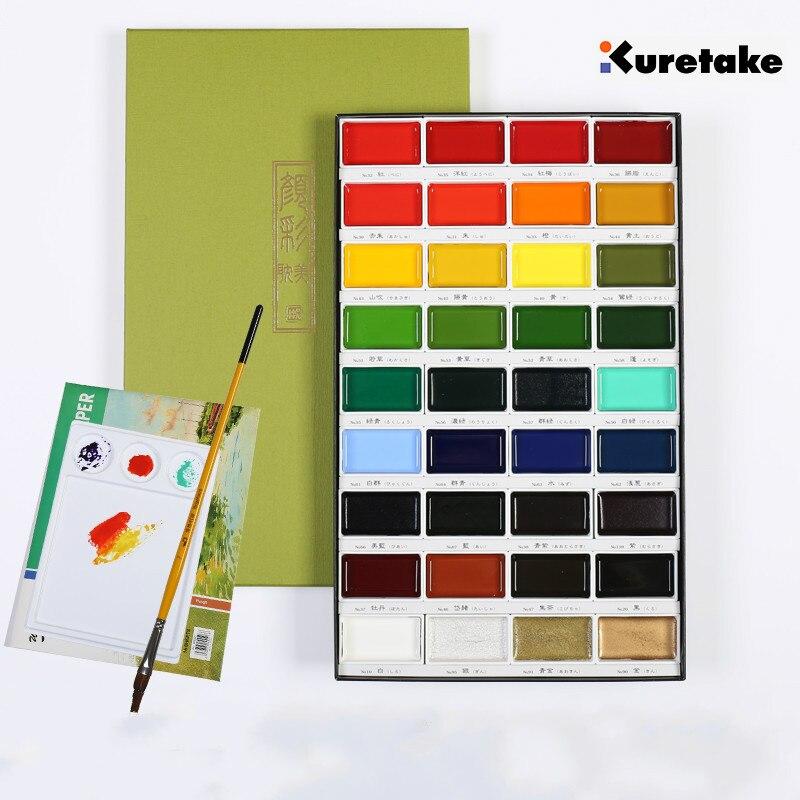 Kuretake soluble solide aquarelle peinture 36 couleurs pour choisir pigment art fournitures boîte à bonbons