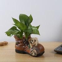 Cute cartoon creative resin vase table desk flower hydroponic plants flower crafts dog