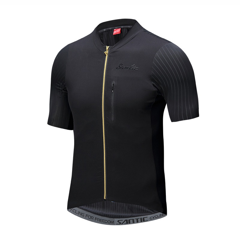 Santic Men Pro Team Cycling Short Jersey Seamless Cuff Imported High quality Fabric Road Bike Short Sleeve Cycling Clothings