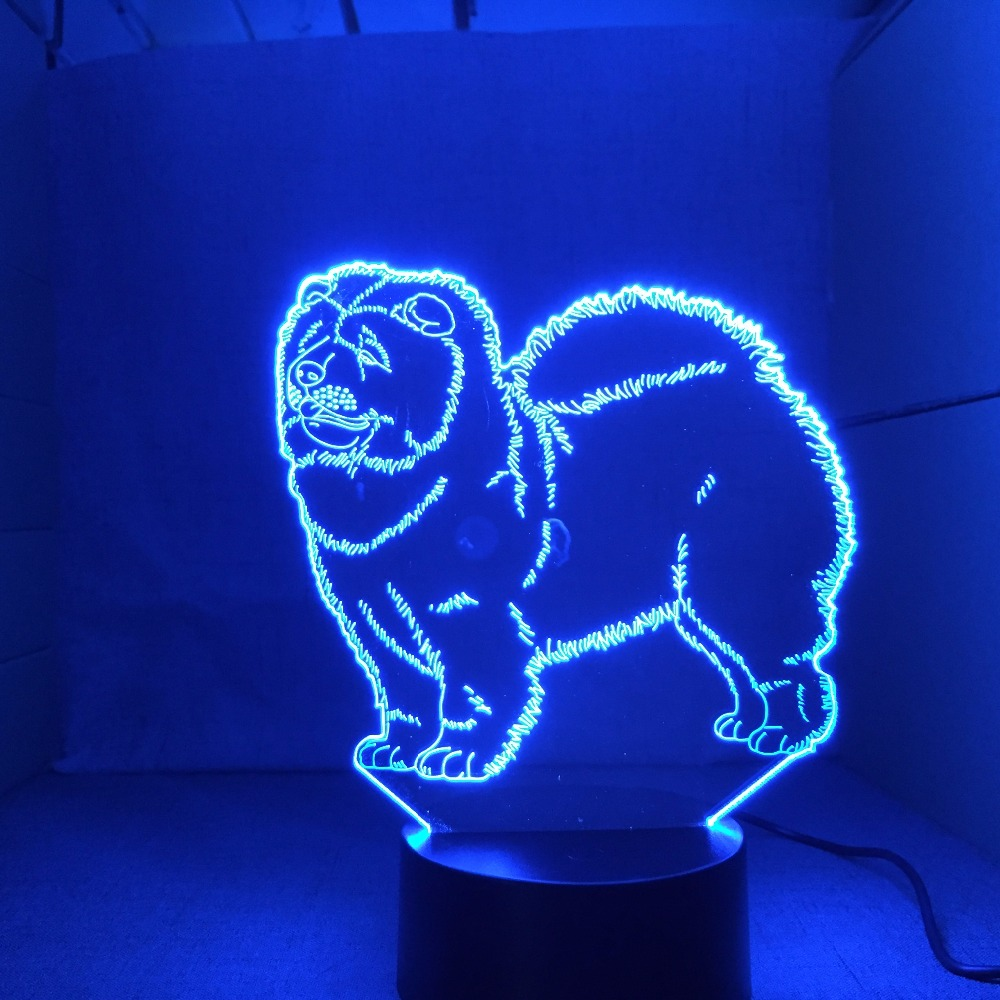 Chow Chow New Dog Lamp 3D Night Light Kid Toy LED 3D Touch Table Lamp 7 Colors Flashing LED Light Christmas Decorations For Home