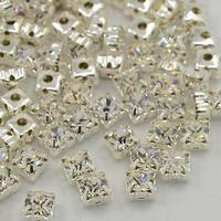 PandaHall Square Brass Grade A Rhinestone Loose Jewelry DIY Montee bead Grade A Silver Metal Color Crystal 5.44~5.61x5.44~5.61mm