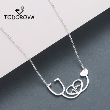 Todorova Love Heart Heartbeat Necklaces for Women Men Medical Stethoscope Pendant Necklace Doctor Nurse Graduation Gift