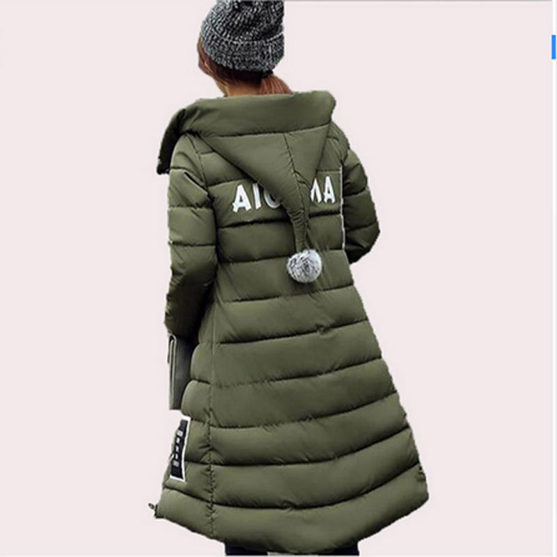 2017 New Arrive Fashion Winter Jacket Women Hooded Long Down Padded Coat Female Slim Warm Long Sleeve Appliques Parka Qh0288