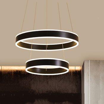 Nero Colore Bianco Moderno Lampade a sospensione Lustro HA CONDOTTO LA Lampada del Soffitto di Illuminazione Per Soggiorno Sala Da Pranzo 1/2 Anelli del Cerchio